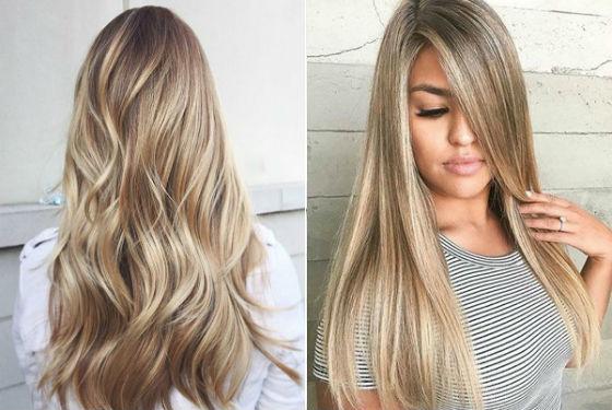 Эффект выгоревших прядей на русых волосах