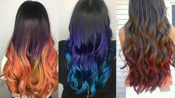 Создание цветных бликов на волосах