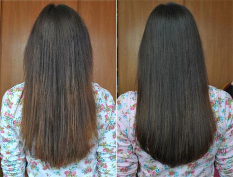 Домашнее ламинирование сухих и ослабленных волос желатином до и после