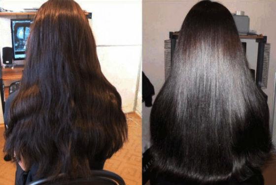 Окрашивание с эффектом оздоровления на темных волосах