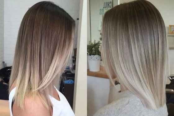 Эффект отросших корней на русых волосах