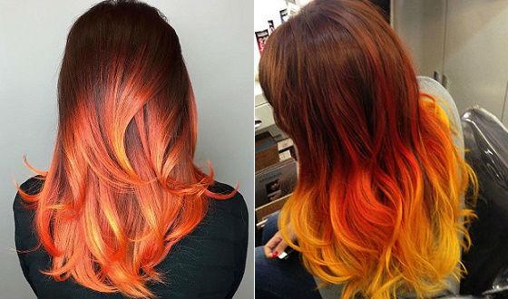 Эффект отросших корней на рыжих волосах