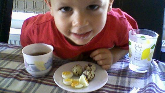 Мальчик ест перепелиное яйцо на завтрак