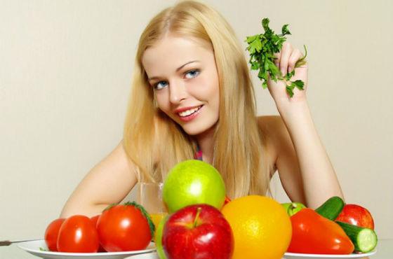 Рацион должен содержать большое количество овощей и фруктов