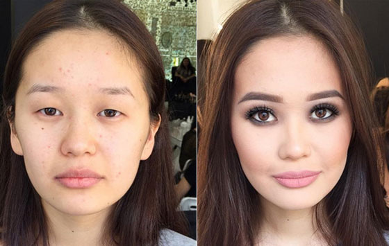 Результат увеличения глаз макияжем 1