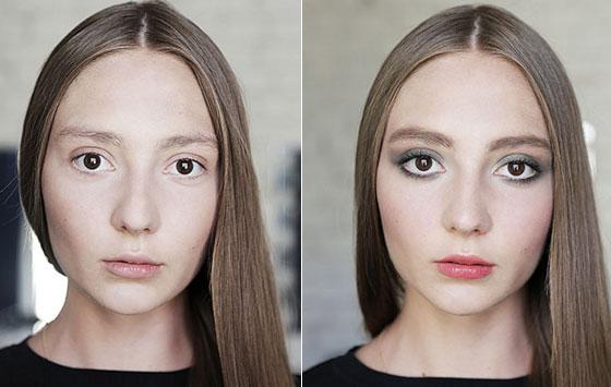 Результат увеличения глаз макияжем 3