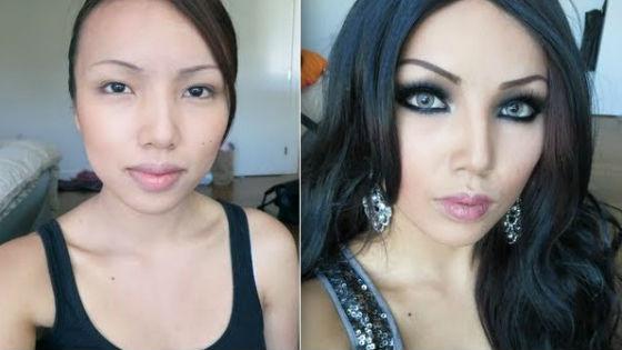 Азиатская девушка до и после макияжа