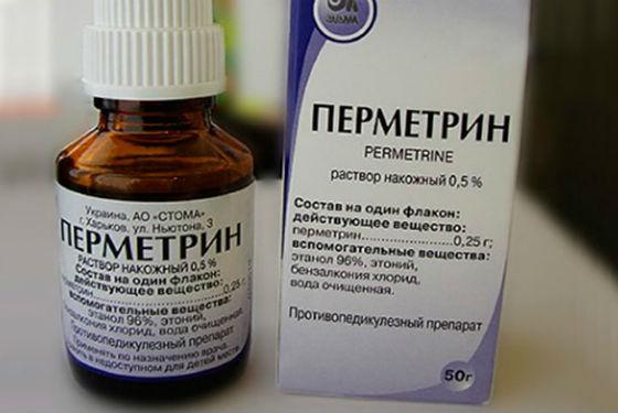 Спрей Перметрин при лечении педикулеза