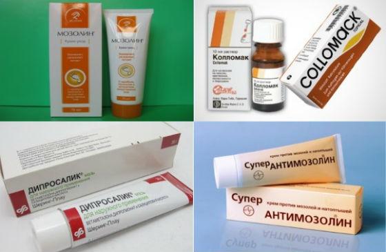 Аптечные средства для лечения мозолистых образований