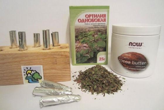 Приготовление суппозиториев с травой ортилии