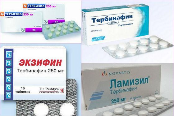 Препараты с тербинафином при грибковом поражении