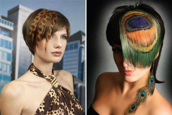 Трафаретное окрашивание, рисунки на волосах