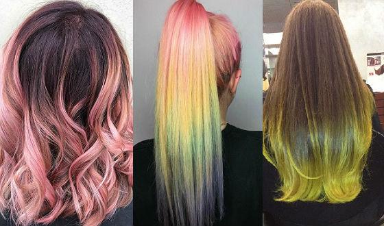 Разнообразие эффектов отросших волос на темных волосах