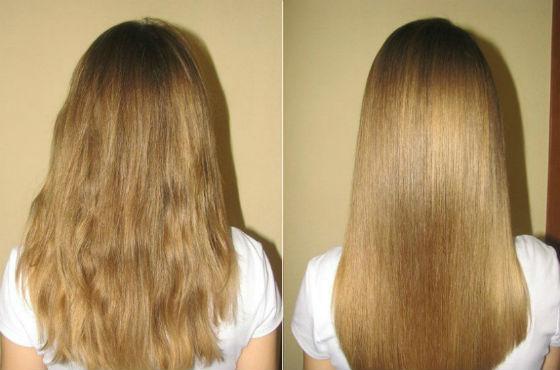 Волосы до и после салонной процедуры
