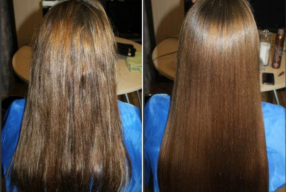 Волосы до и после кератирования