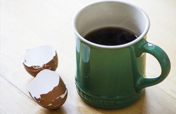 Добавление яичной скорлупы для варки кофе