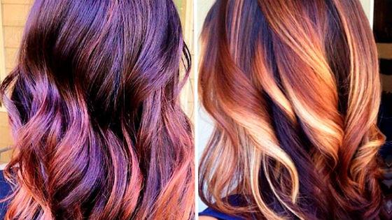 Разноцветная покраска кончиков