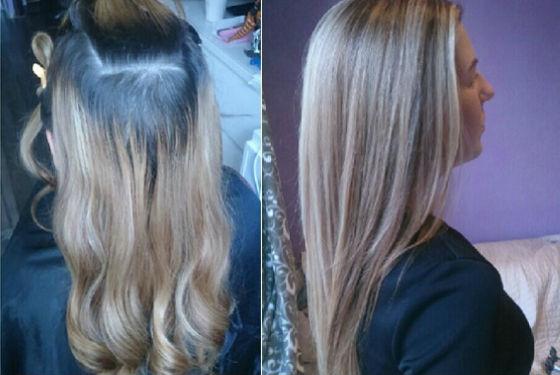 Коррекция отросших корней при частичном осветлении волос